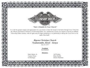 Rigena Certificate